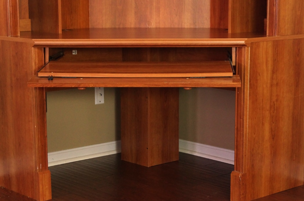 Transitional style corner computer desk with removable hutch ebth - Hutch style computer desk ...