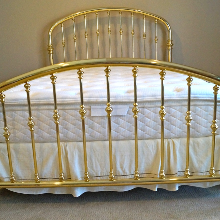 Charles P Rogers Queen Size Brass Rainbow Bed With Mattress Ebth