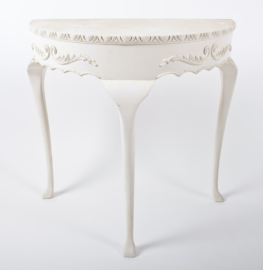 White demilune console table ebth White demilune console table