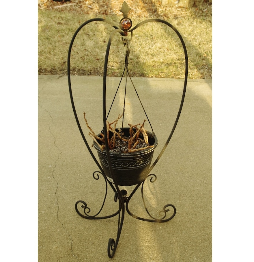 Black Wrought Iron Planter Hanger With Tri Part Stand