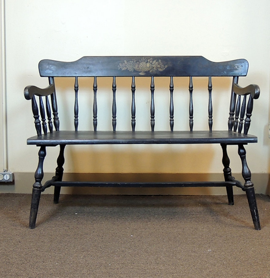 Black Spindle Back Wooden Bench Ebth