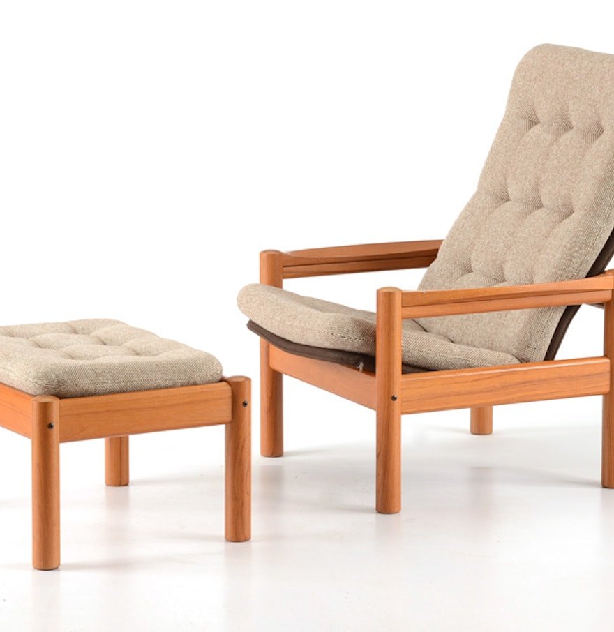 Bentwood chairs domino - Domino Mobler Teak Chair And Ottoman