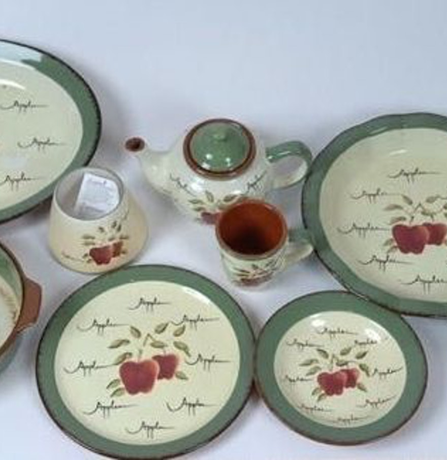 Home interiors 39 apple orchard 39 tea set ebth for Home interiors apple orchard collection