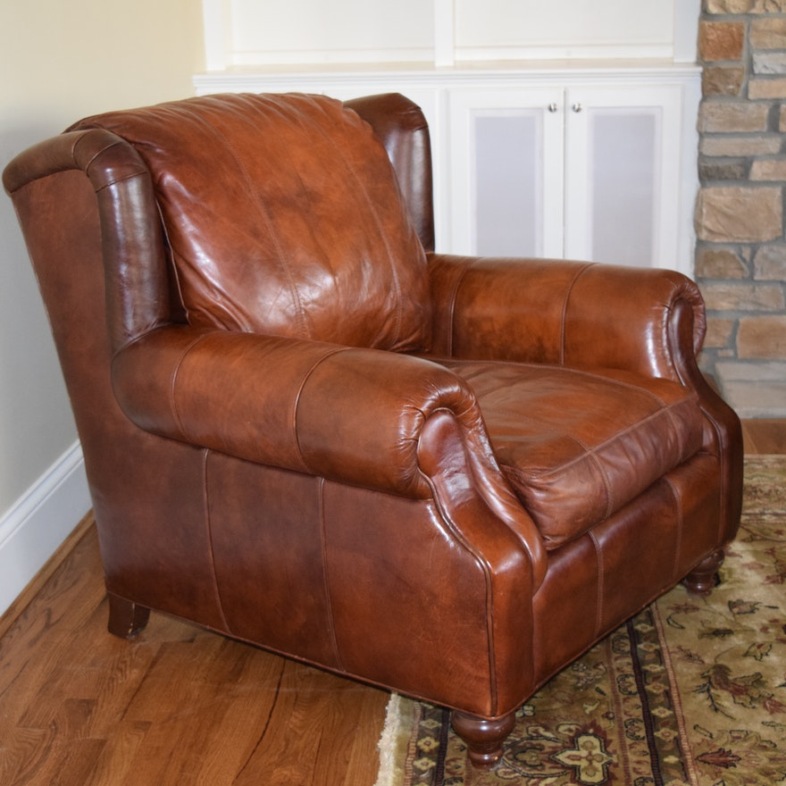 Henredon Leather Club Chair 2 Ebth