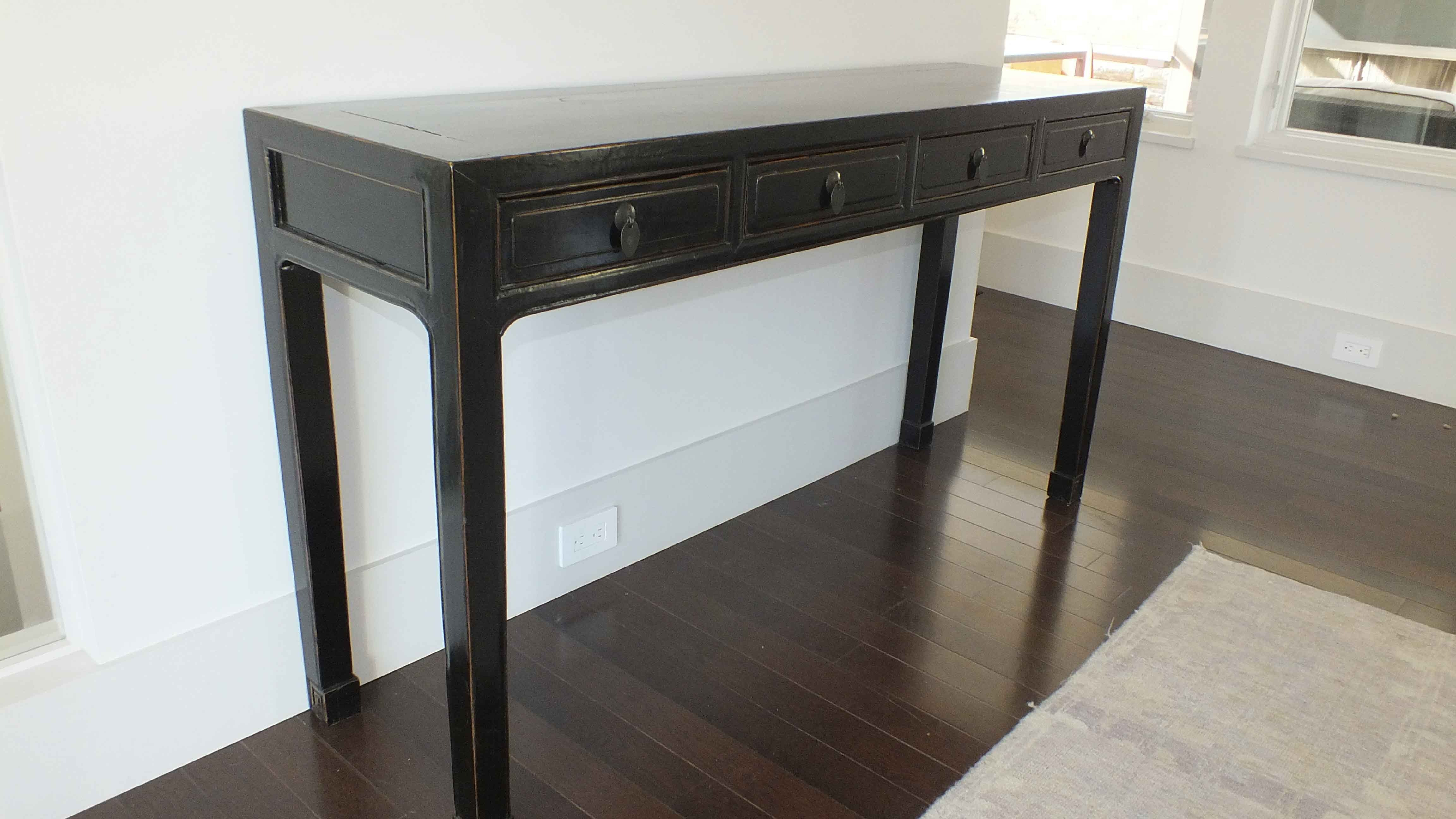 Asian Inspired Black Lacquered Console Table ...