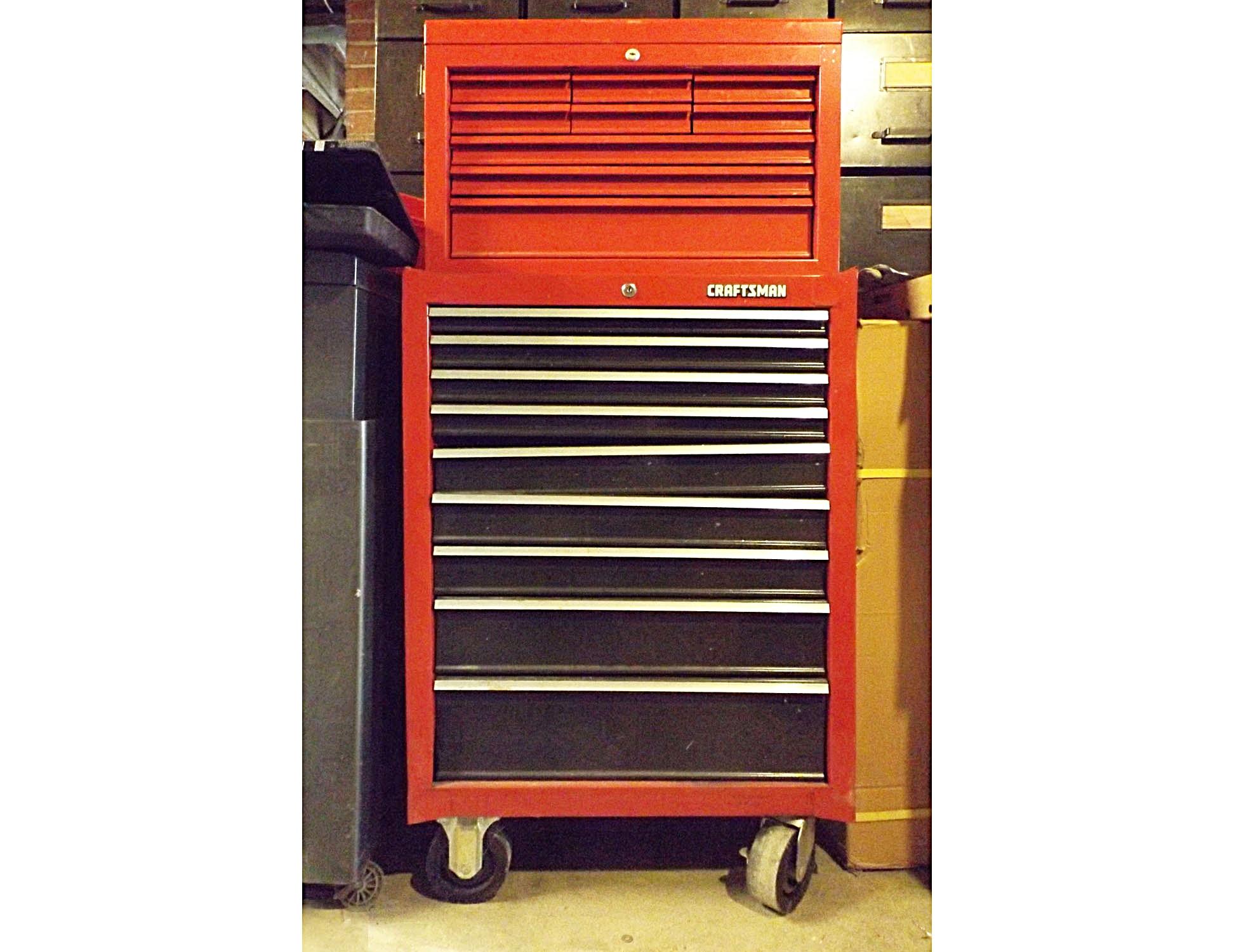 Craftsman 9-Drawer Rolling Tool Cabinet/Upper Tool Box + Tools : EBTH