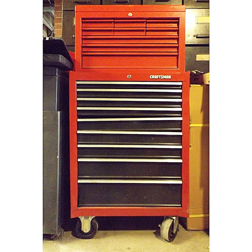 Craftsman 9-Drawer Rolling Tool Cabinet/Upper Tool Box + Tools