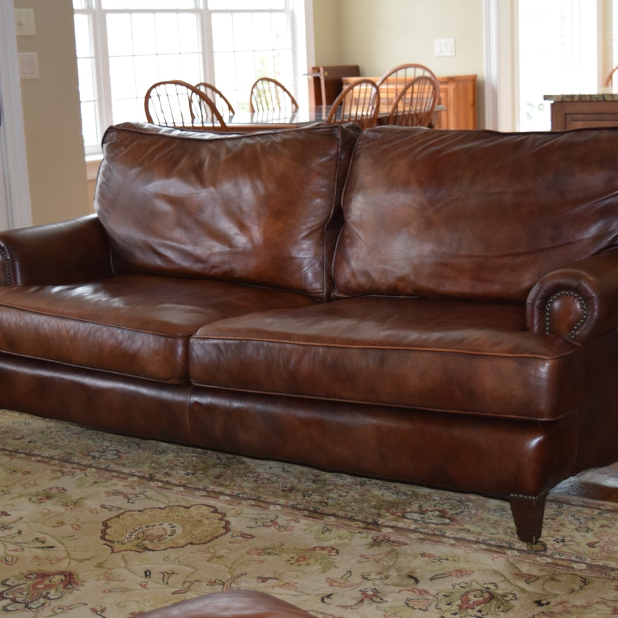 Henredon Brown Leather Sofa