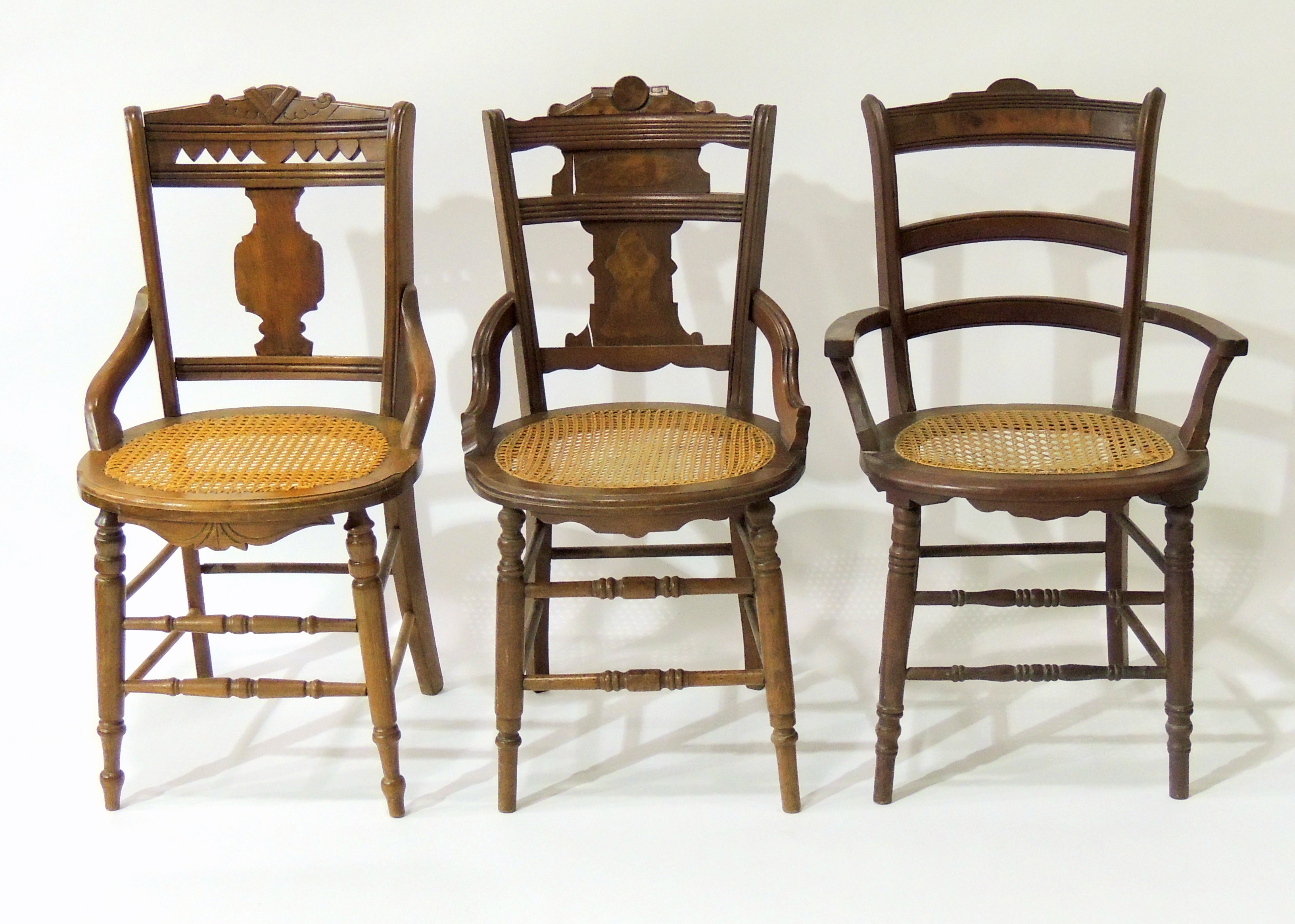 Three Eastlake Style Cane Seat Side Chairs ...