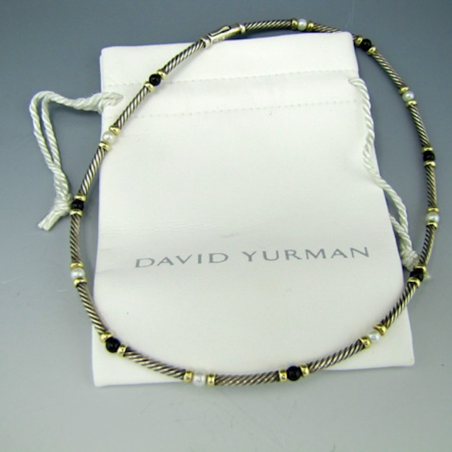 David Yurman Sterling 14k Hampton Pearl And Onyx Cable