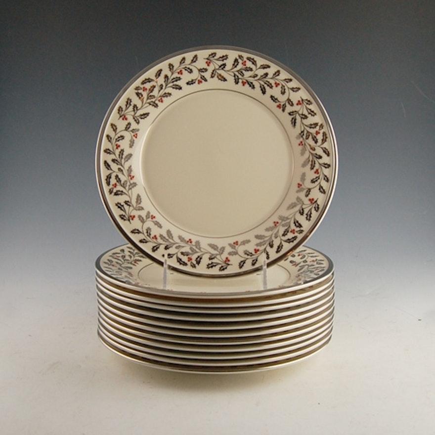lenox solitaire christmas luncheon plates set - Solitaire Christmas