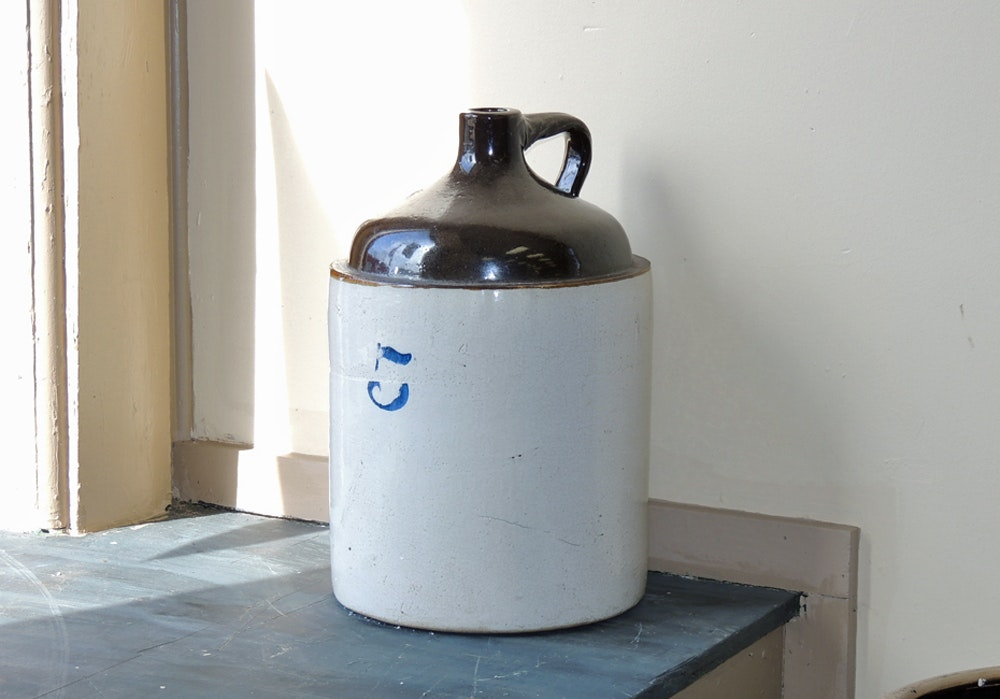 Vintage Five Gallon Stoneware Crock Jug Ebth