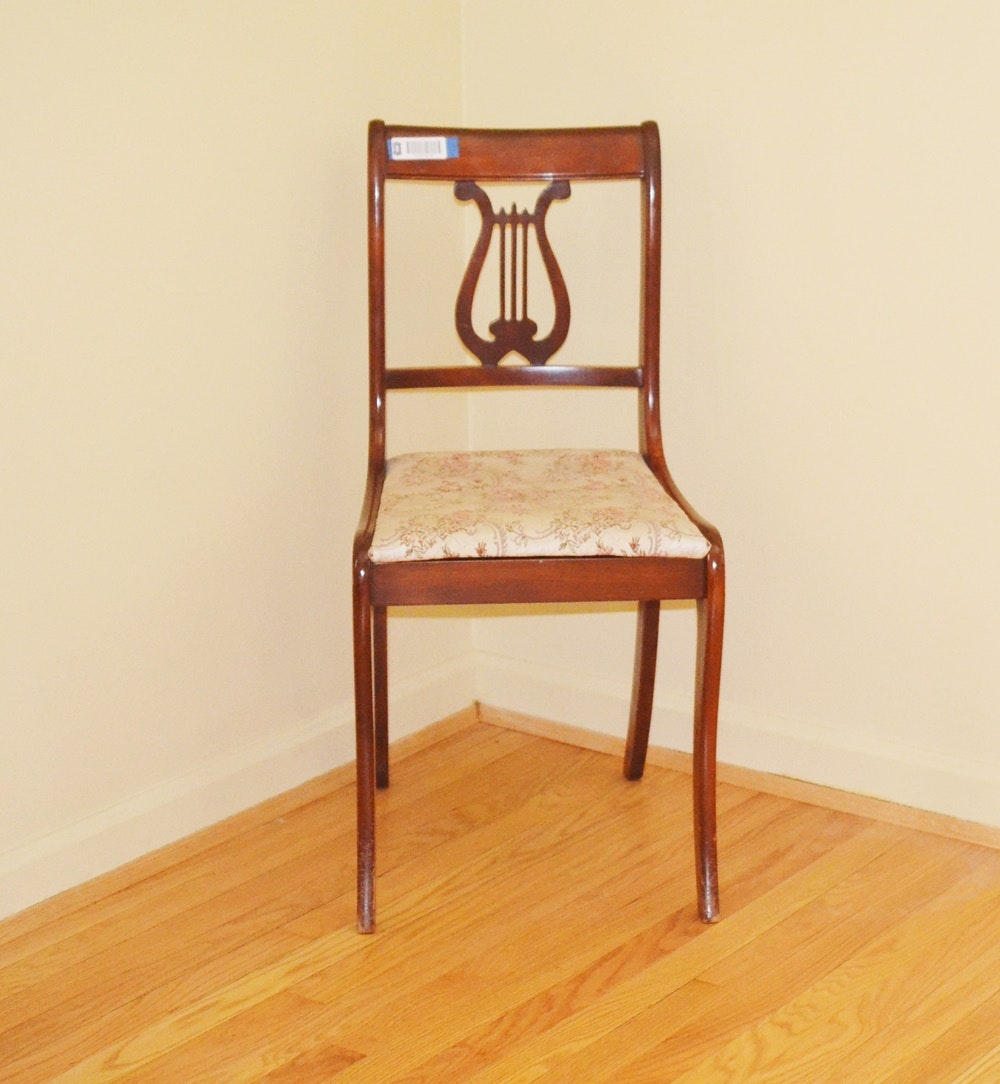 Vintage Mahogany Empire Style Lyre Back Chair By Tell City Chair ...