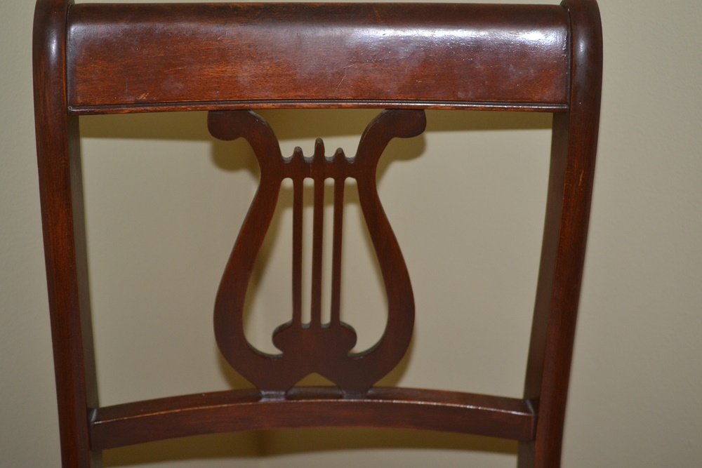 Vintage Mahogany Empire Style Lyre Back Chair By Tell City Chair : EBTH