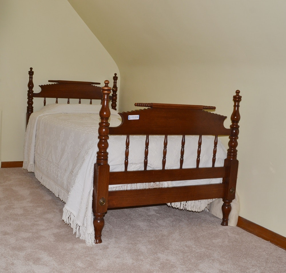 Circa 1880s Walnut Jenny Lind Twin Size Spool Bed W