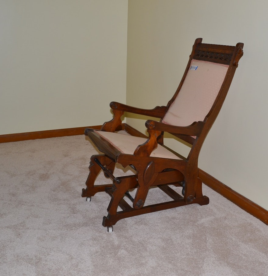 Victorian rocking chair - Late Victorian Era Eastlake Style Glider Rocking Chair