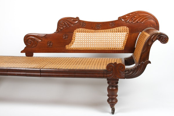 Antique british imperial cane and mahogany chaise longue for Cane chaise longue