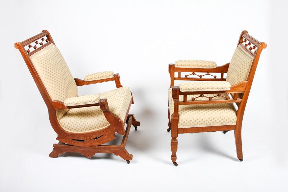 Antique Eastlake Victorian Oak Chair and Platform Rocker : EBTH