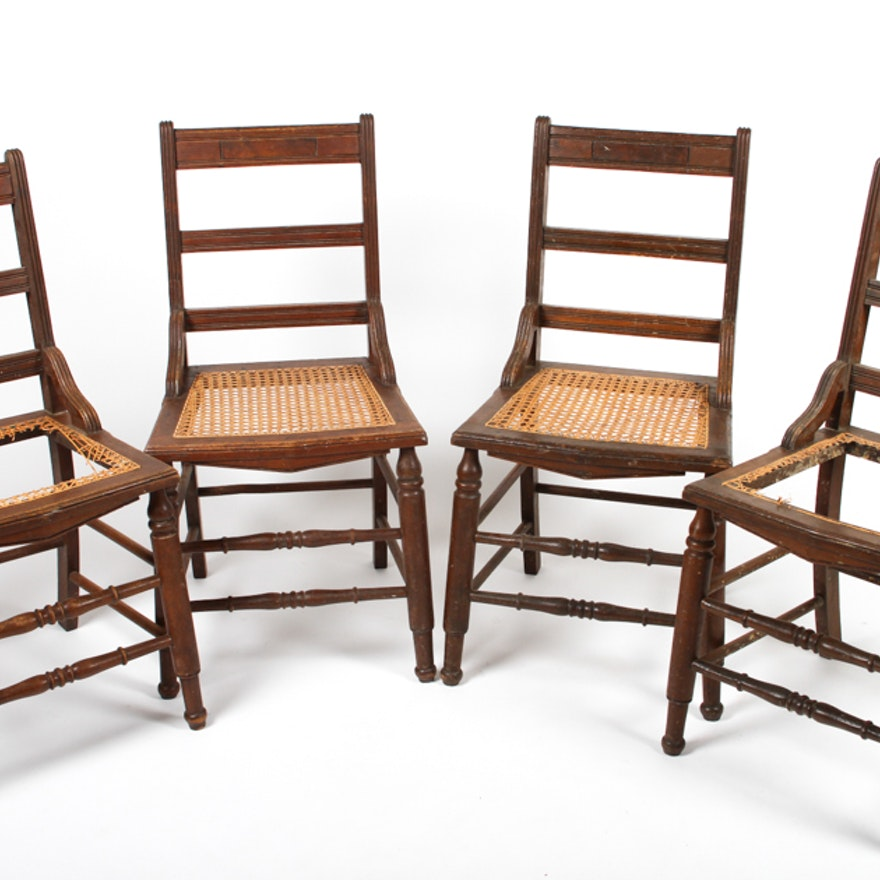 Set of Four Antique Ladder-Back Cane Seat Dining Chairs ... - Set Of Four Antique Ladder-Back Cane Seat Dining Chairs : EBTH