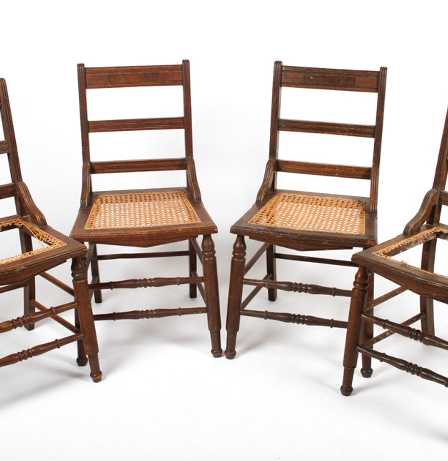 Set Of Four Antique Ladder-Back Cane Seat Dining Chairs : EBTH