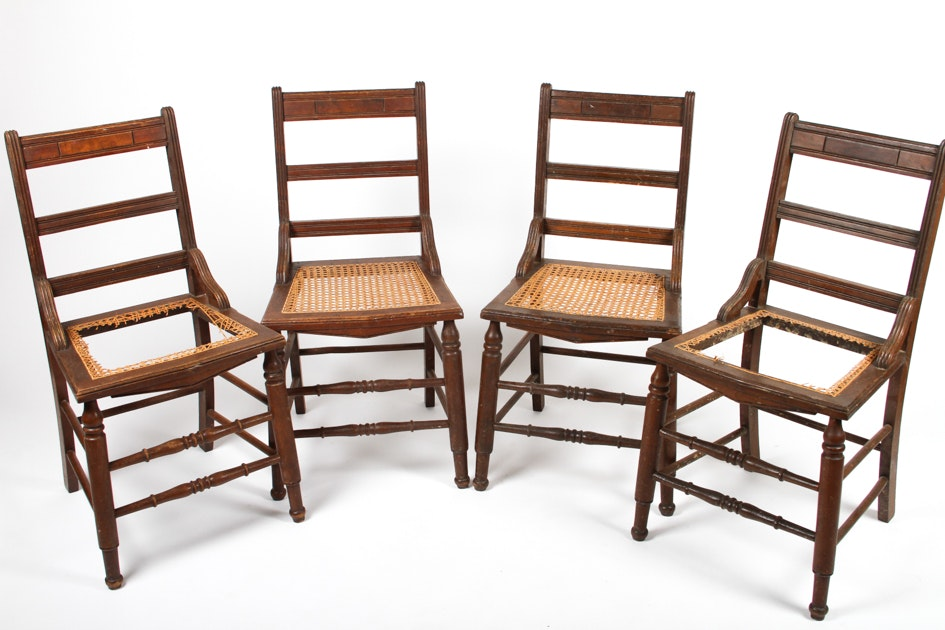 Set Of Four Antique Ladder Back Cane Seat Dining Chairs ...