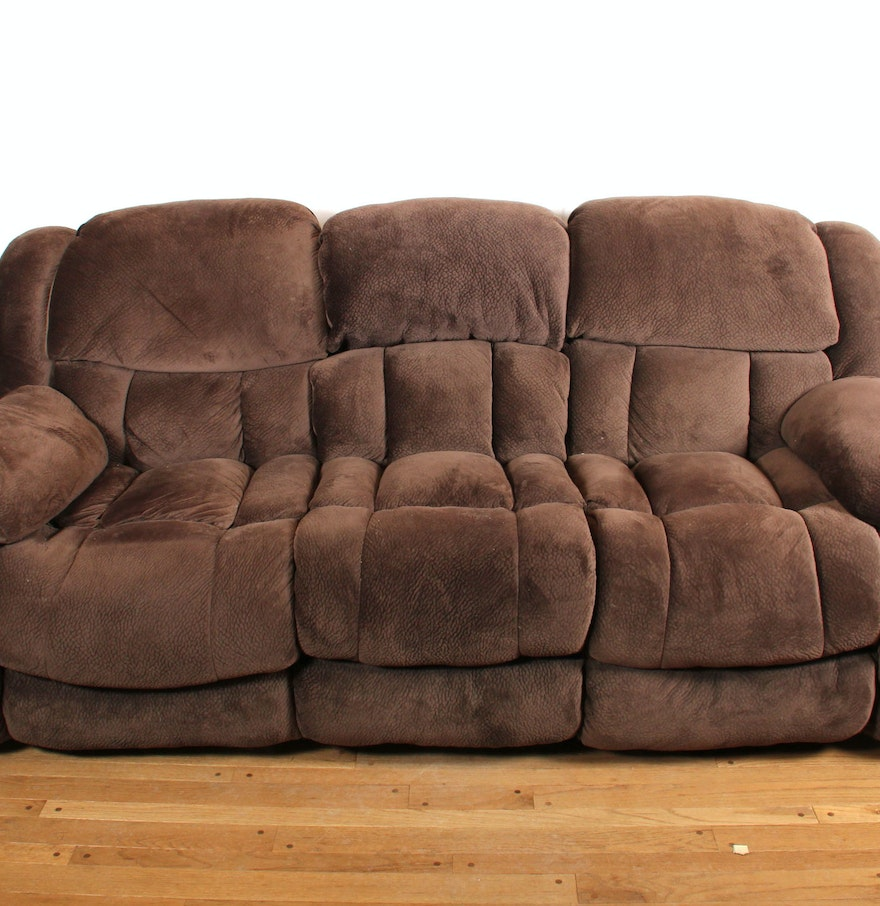 Overstuffed brown plush microfiber reclining sofa ebth Brown microfiber couch and loveseat