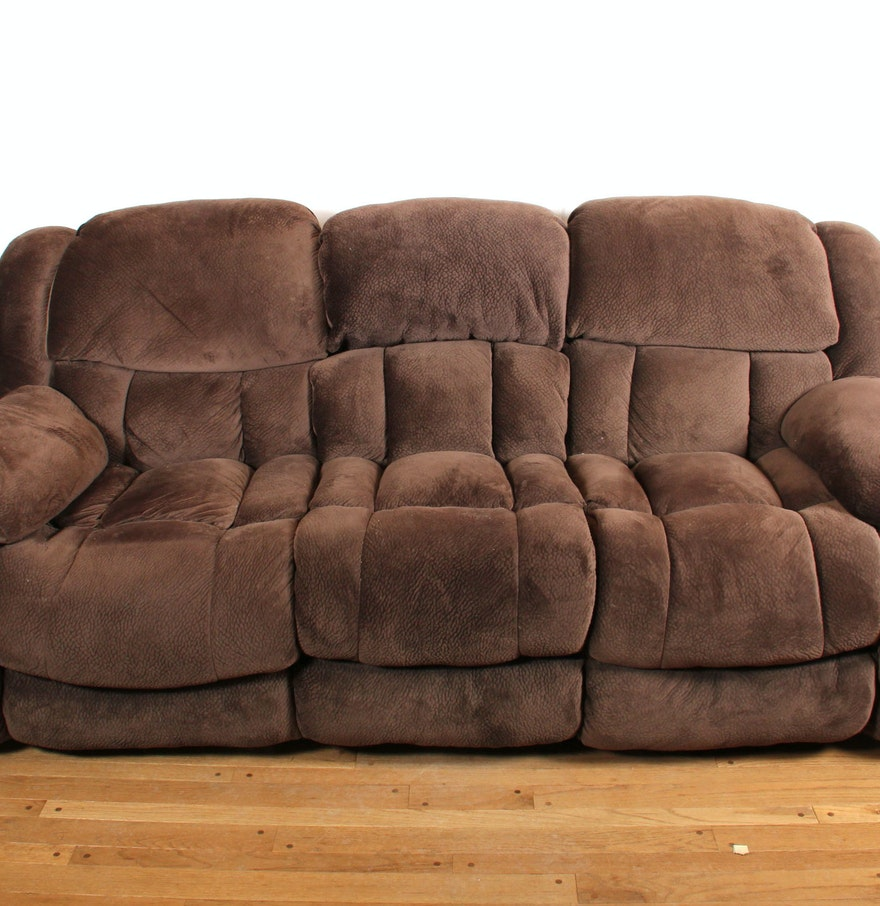 Overstuffed Brown Plush Microfiber Reclining Sofa Ebth