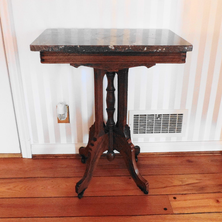 Antique Marble Side Table Reading: Antique Eastlake Side Table With Marble Top