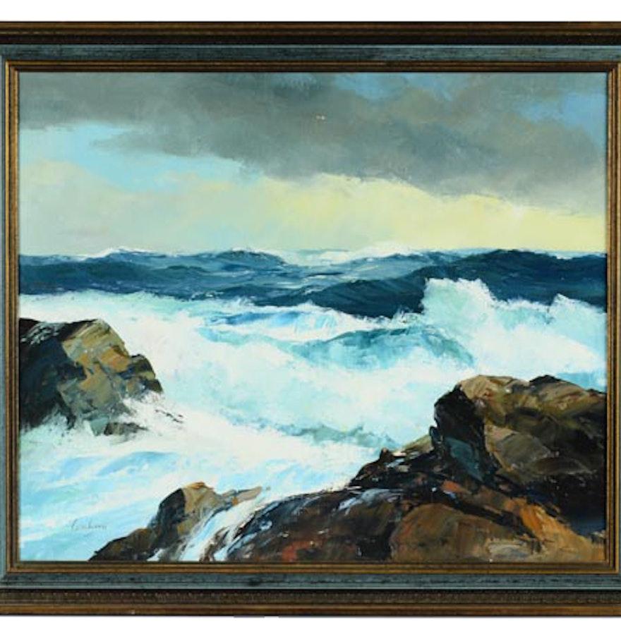 Fine watercolor art for sale - Dutch Artist Bernard Laarhoven Oil On Canvas Seascape