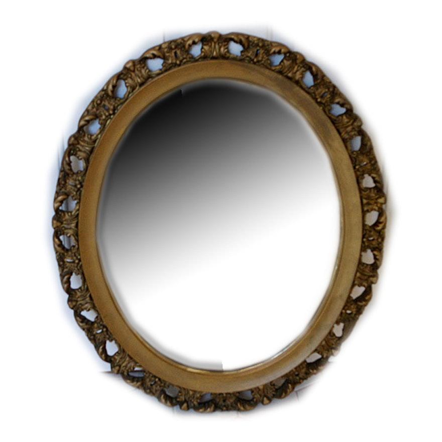 Wood Framed Oval Mirror