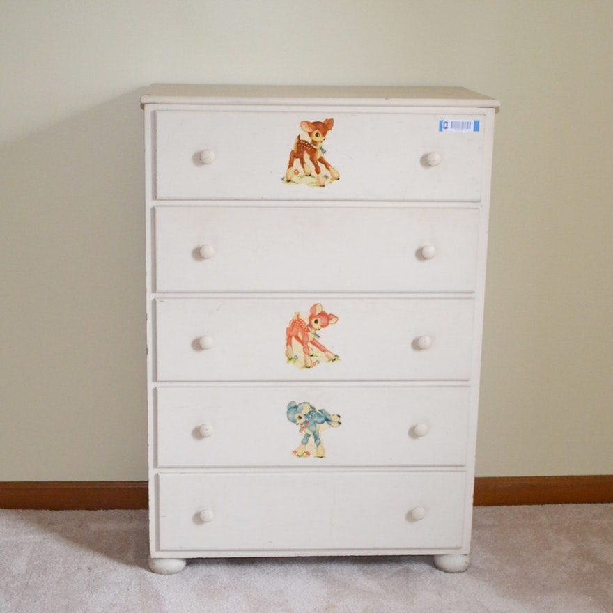 Vintage White Chest Of Drawers With Nursery Decals