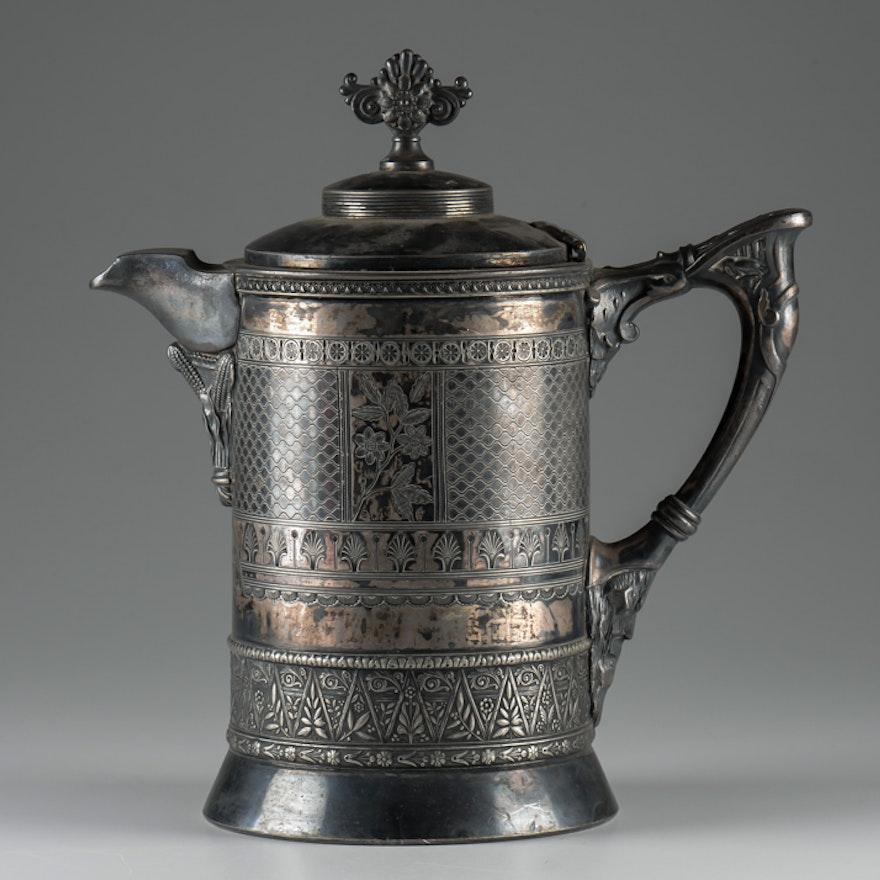 Late 1800s Meridian Britania Silver Plate Coffee Pot