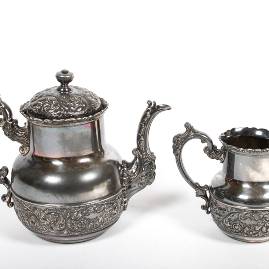 Antique 1892 derby silver co silver plate teapot and for Decor fusion interior design agency manchester m3