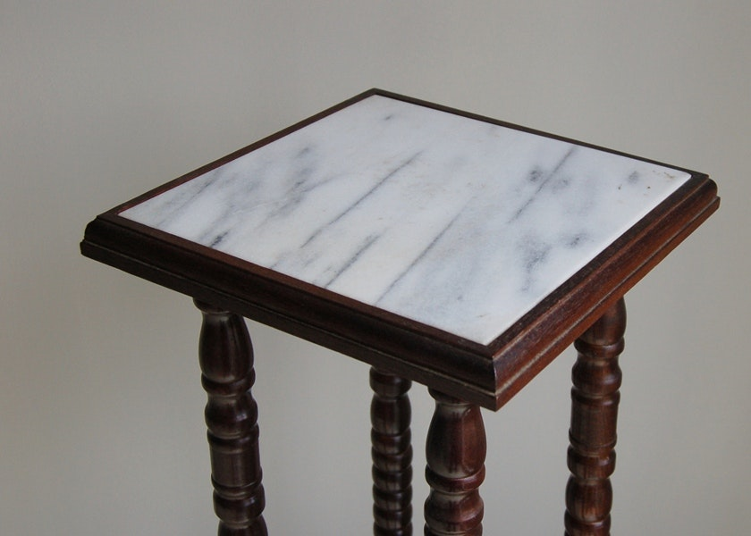 Marble Top Plant Stand Ebth