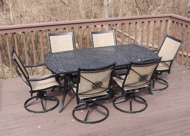 Martha Stewart Living Outdoor Dining Table And Six Swivel Rockers ...
