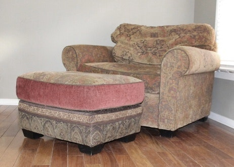Arhaus Upholstered Chair And A Half With Matching Ottoman ...