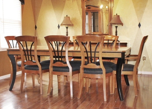 Biedermeier Style Walnut Dining Table U0026 Eight Chairs ...