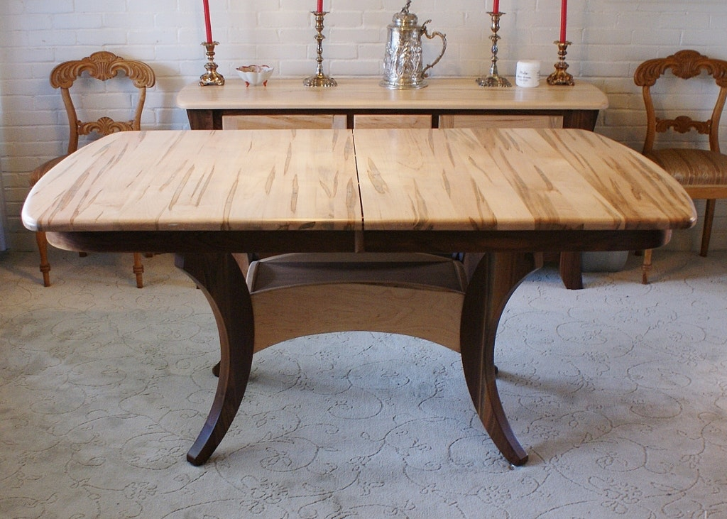 Maple Kitchen Table With Chair And Bench Ebth: Amish Built Solid Wormy Maple Dining Table