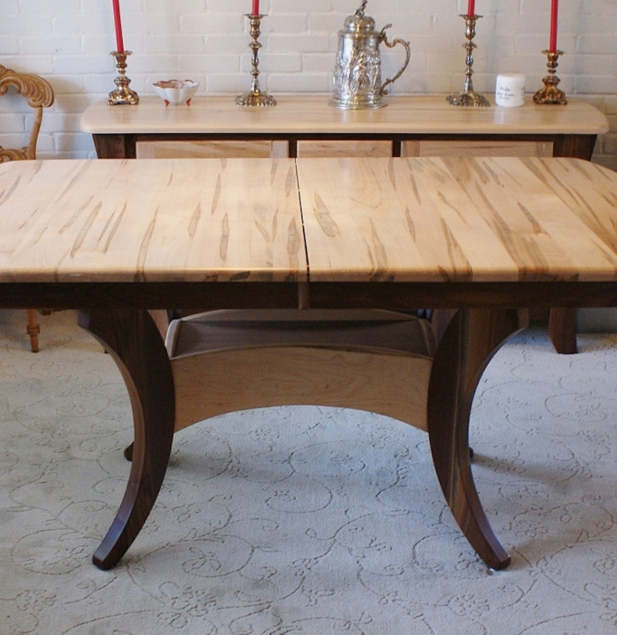 Amish Built Solid Wormy Maple Dining Table : EBTH