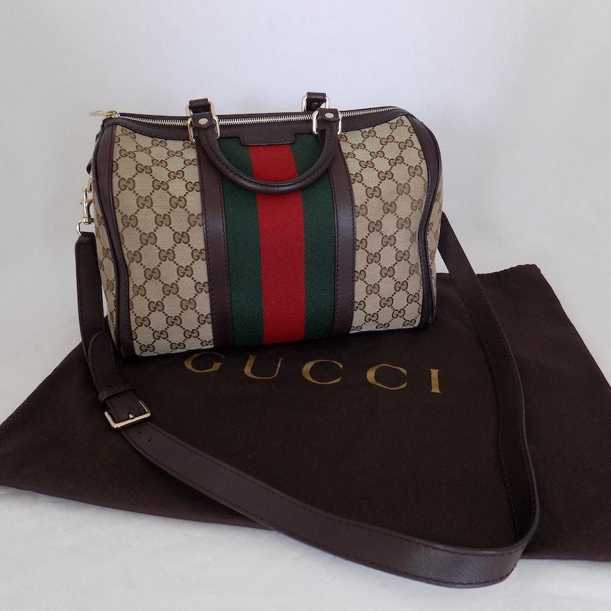 b2900f905c8 Vintage Gucci Monogram Boston Bag