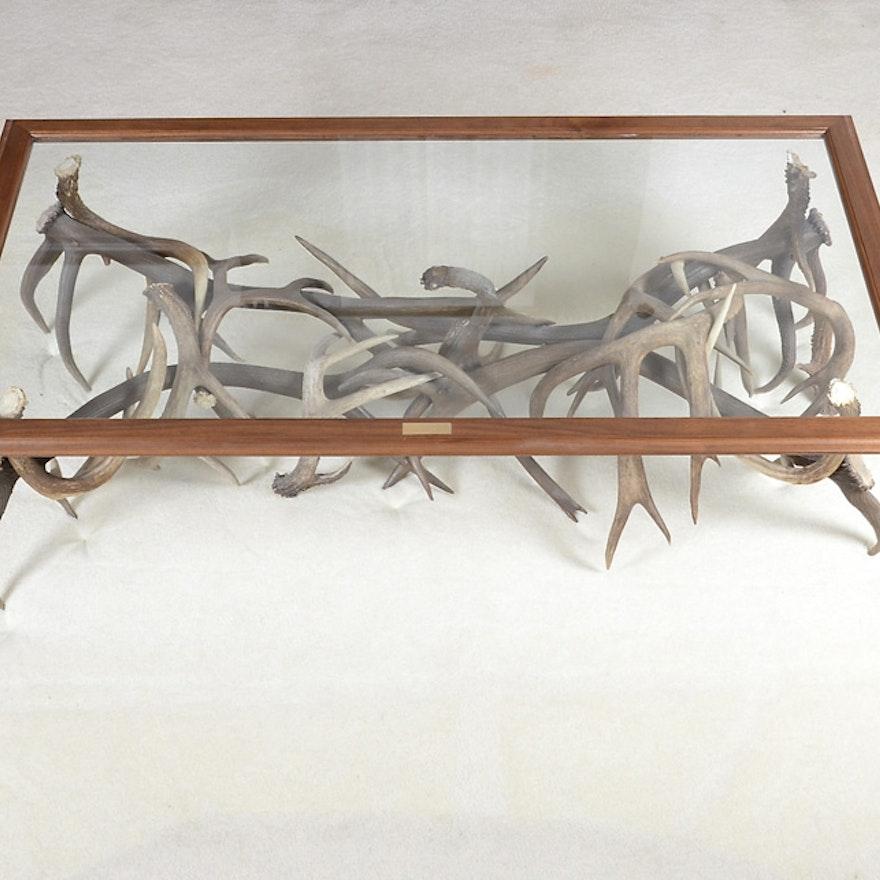Bespoke Glass Coffee Tables: Custom-Made Glass Top And Deer Antler Coffee Table : EBTH