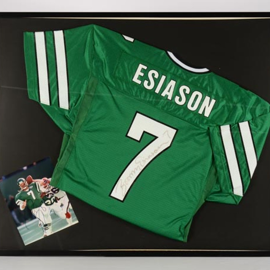 online store 33cd3 e1bc7 Boomer Esiason New York Jets Signed Framed Jersey And Photo