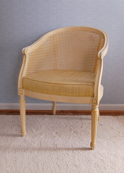 off white barrel back cane chair