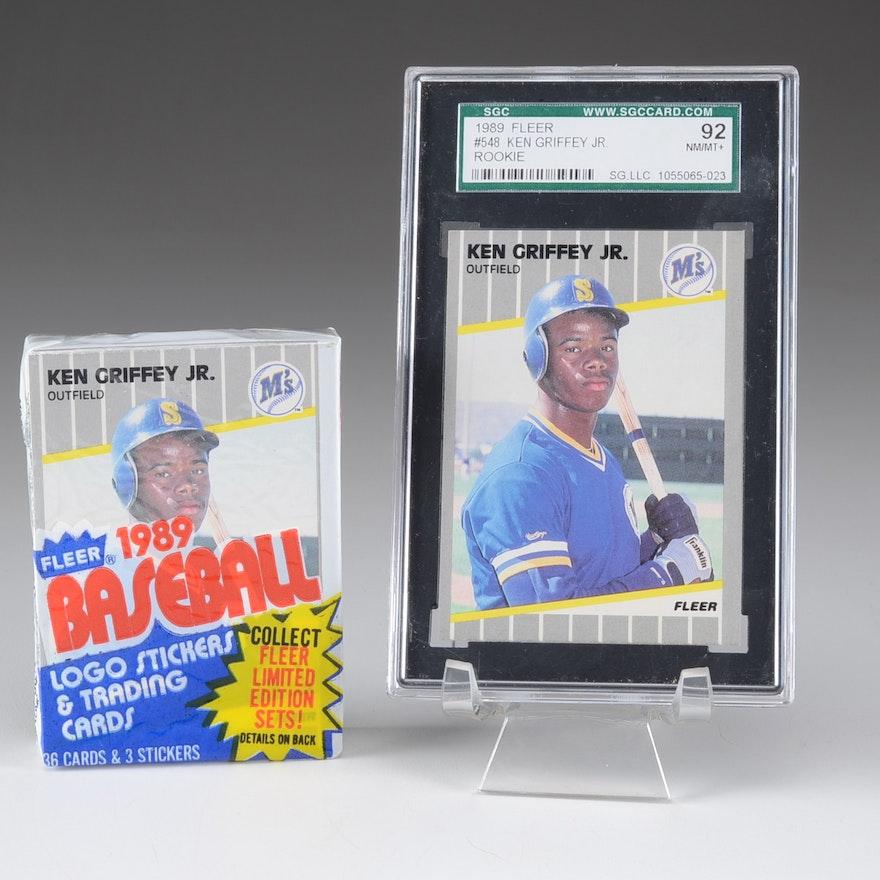 f99a073d8f Ken Griffey Jr. Graded Rookie Plus Unopened 1989 Fleer Pack : EBTH
