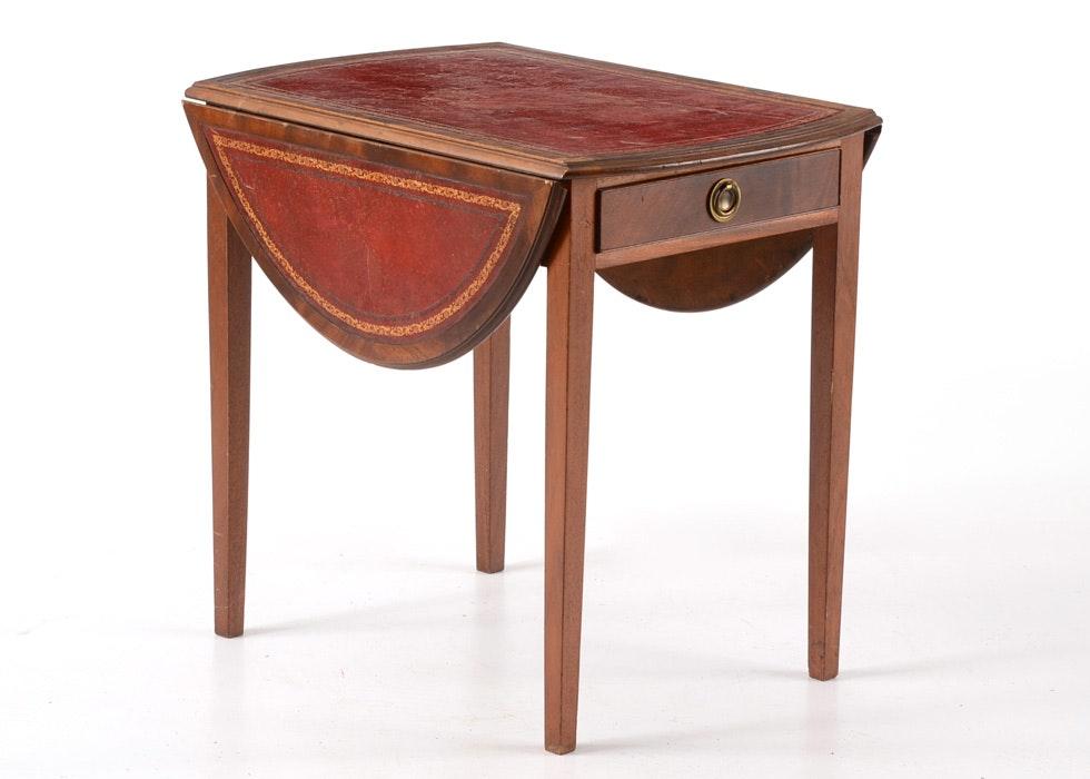 Vintage Leather Top Mahogany Veneer Drop Leaf Side Table ...