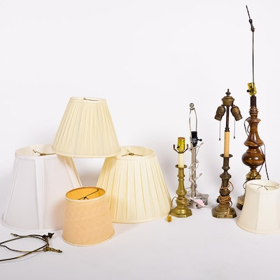 Antique floor lamps table lamps and light fixtures auction in group of lamps mozeypictures Choice Image