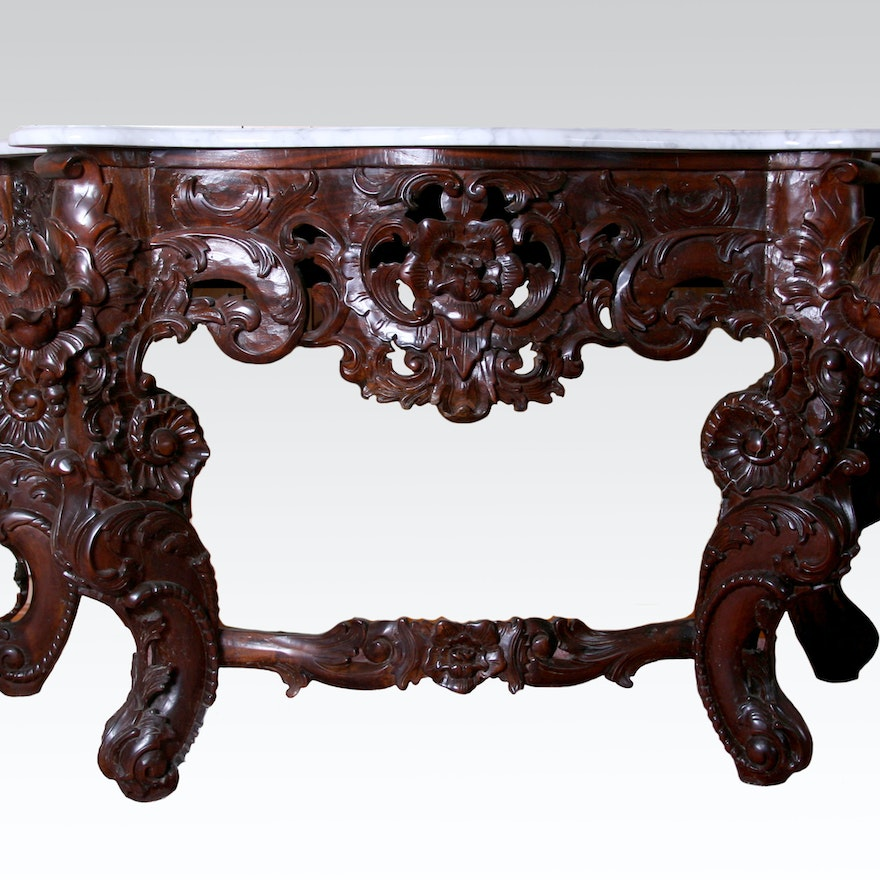 Hand Carved Indonesian Marble Top Console Table