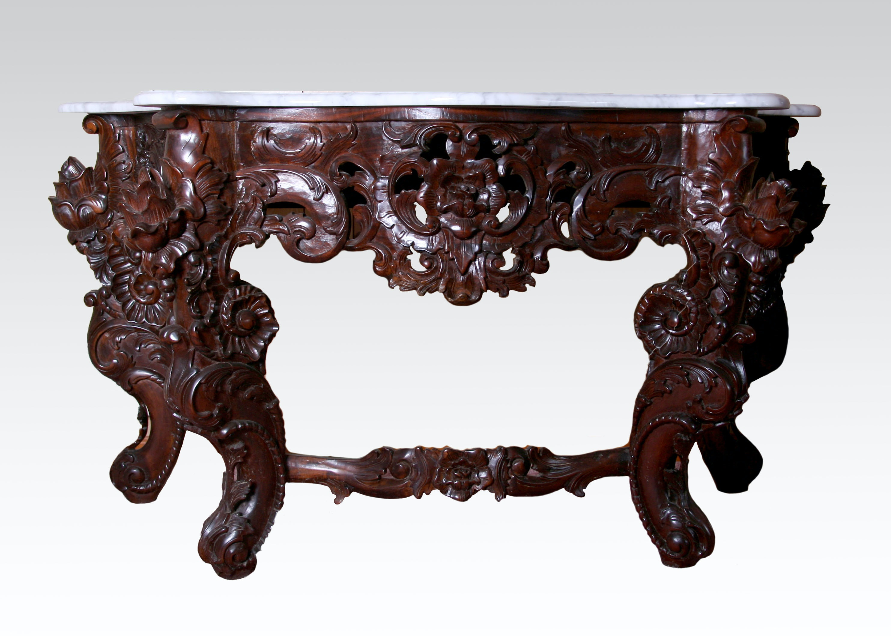 Hand Carved Indonesian Marble Top Console Table ...