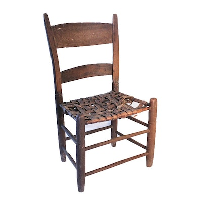 Small Antique Chair with Woven Leather Seat - Vintage Chairs, Antique Chairs And Retro Chairs Auction In