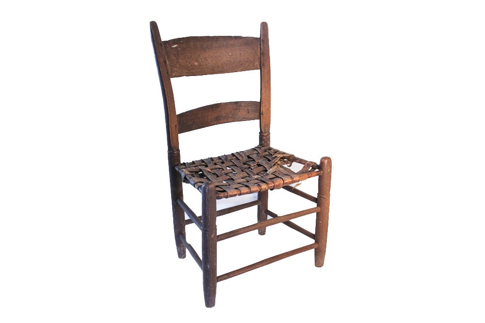 Small Antique Chair With Woven Leather Seat ...